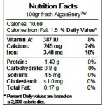 Nutrition Facts about AlgaBerry™