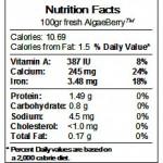 Nutrition Facts about AlgaBerry™
