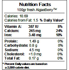Algaberry Nutrition Facts